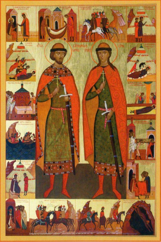 Икона с житием Бориса и Глеба
