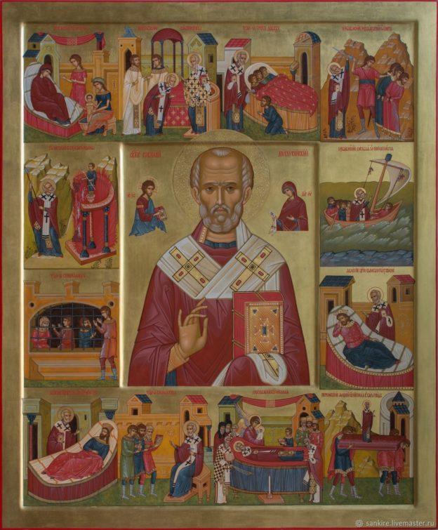 Икона Николая Угодника с житием